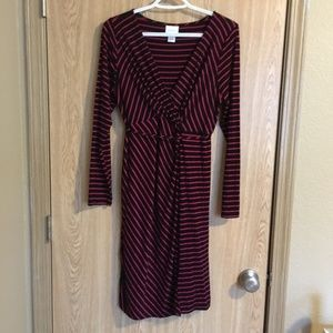 Motherhood Maternity striped long sleeve dress